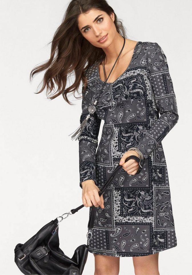 Boysen's Jerseykleid im Patchwork-Design in grau-bedruckt