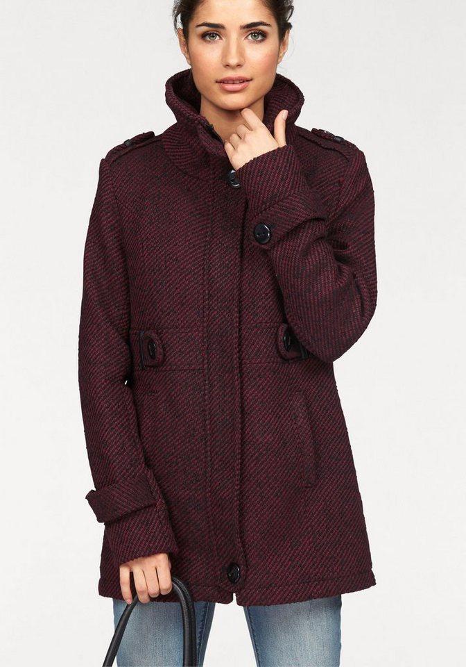 Boysen's Outdoorjacke in Tweed-Optik in bordeaux-schwarz
