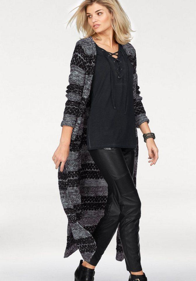 Laura Scott Longstrickjacke mit langen Seitenschlitzen in schwarz-weiß