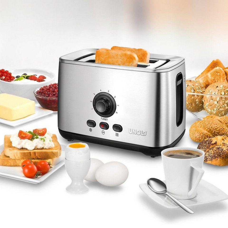 UNOLD® Toaster Turbo 38955, mit Turbo-Toast-Funktion, max. 2100 Watt in Edelstahl/Schwarz