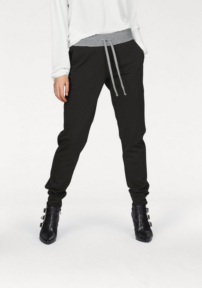 Laura Scott Schlupfhose Jogg-pants mit Nadelstreifen in schwarz-gestreift