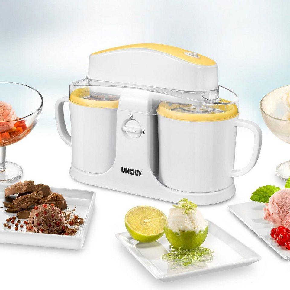 UNOLD® Eismaschine Duo 48850, 2 Sorten Eiscreme gleichzeitig in Weiß/Gelb
