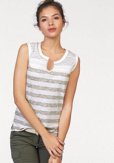 AJC T-Shirt, mit Streifen und aufgesetzer Spitze