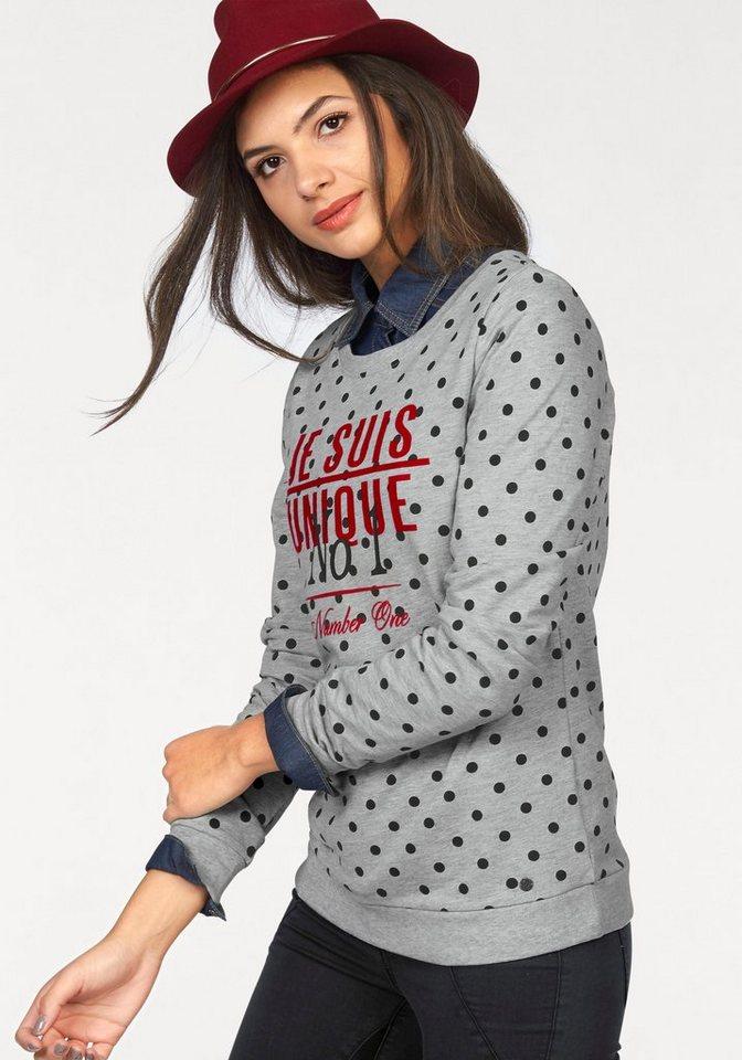 AJC Sweatshirt mit Punkten und Schriftzug in grau-meliert-schwarz