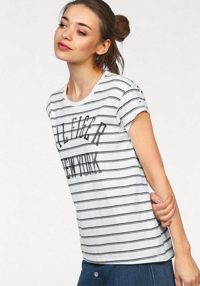 Hilfiger Denim T-Shirt mit Vintage Logodruck in weiß-marine-gestreift