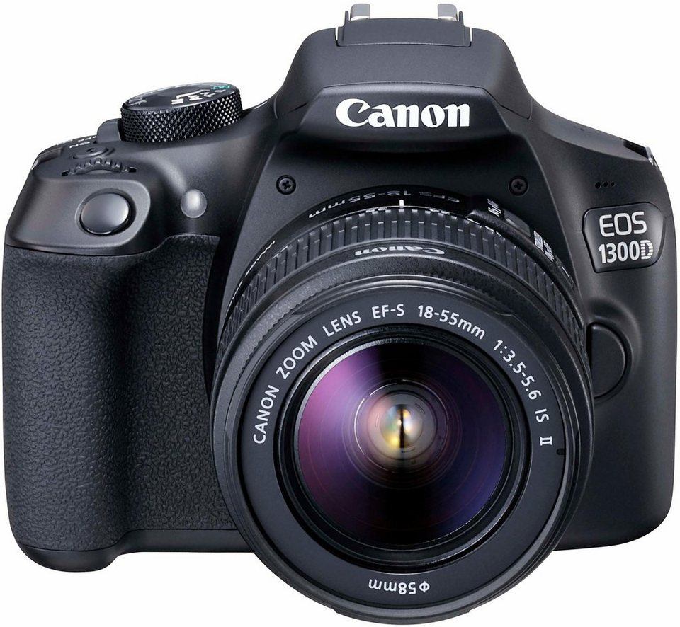 Canon EOS 1300D Kit Spiegelreflex Kamera, EF-S 18-55mm IS II Zoom, 18 Megapixel in schwarz