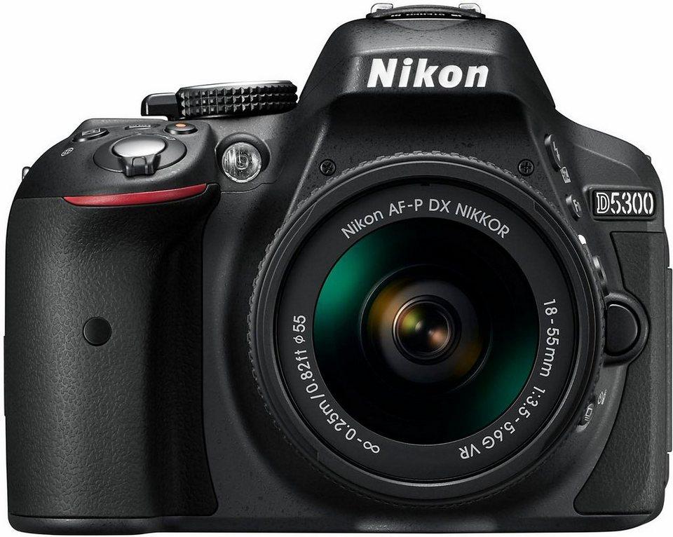 Nikon D5300 Kit Spiegelreflex Kamera, AF-P 18-55 VR Zoom, 24,2 MP in schwarz