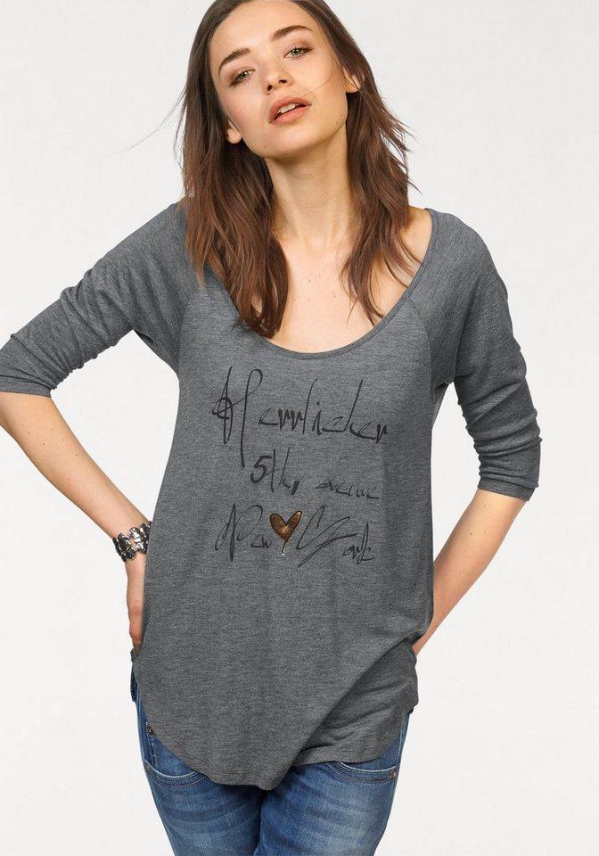 Herrlicher 3/4-Arm-Shirt »Emilia« mit Frontprint in grau-meliert