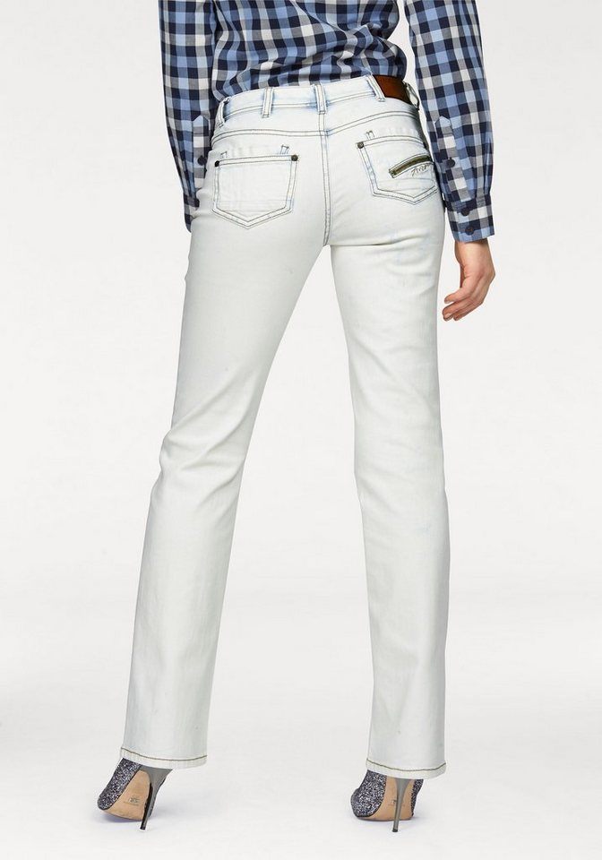 Arizona Gerade Jeans »Shaping« Mid Waist in snow-washed