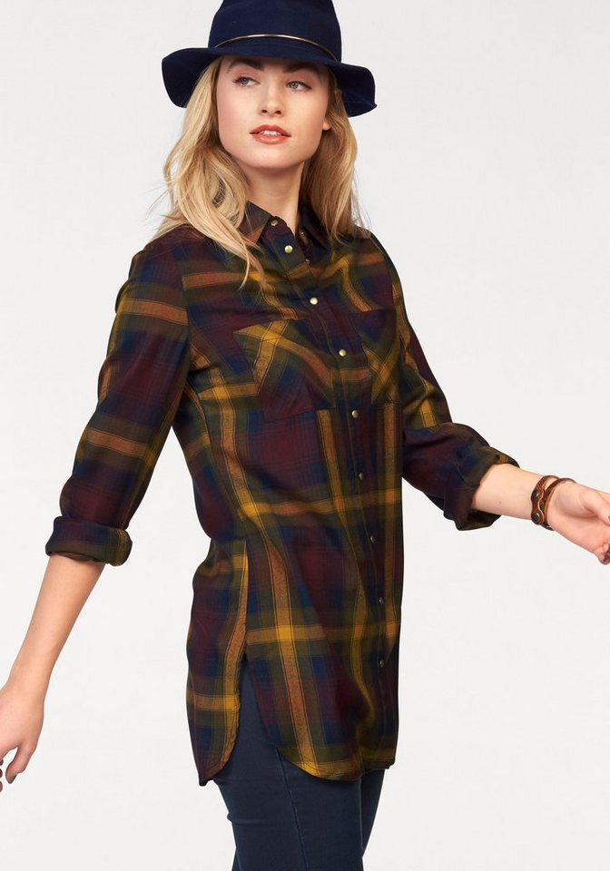 AJC Longbluse mit Karo Muster in bordeaux-curry-marine