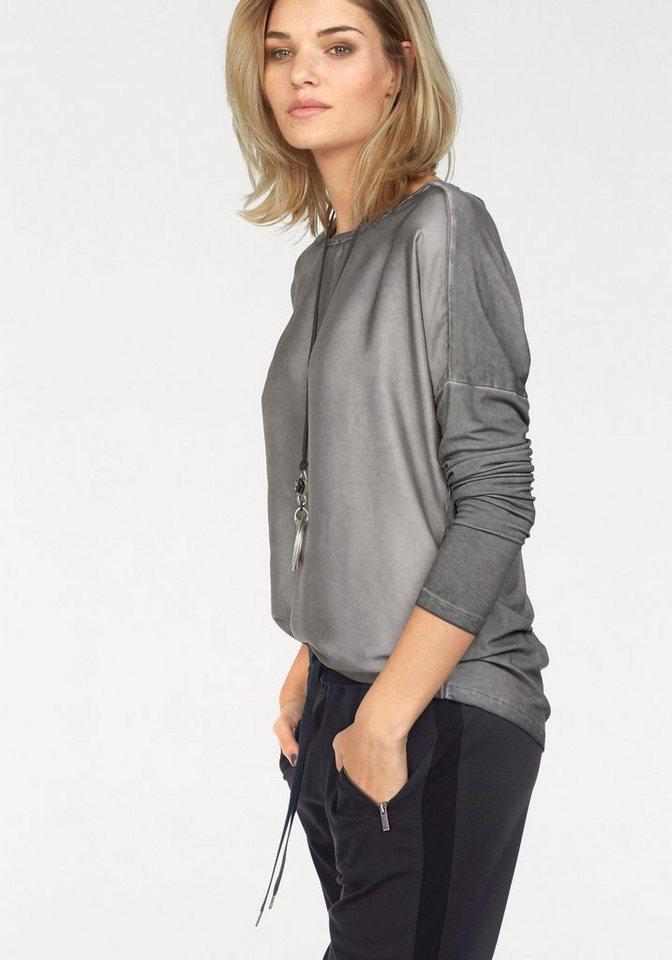 Laura Scott Blusenshirt vorne aus mattem Satin, Rücken aus Jersey in grau