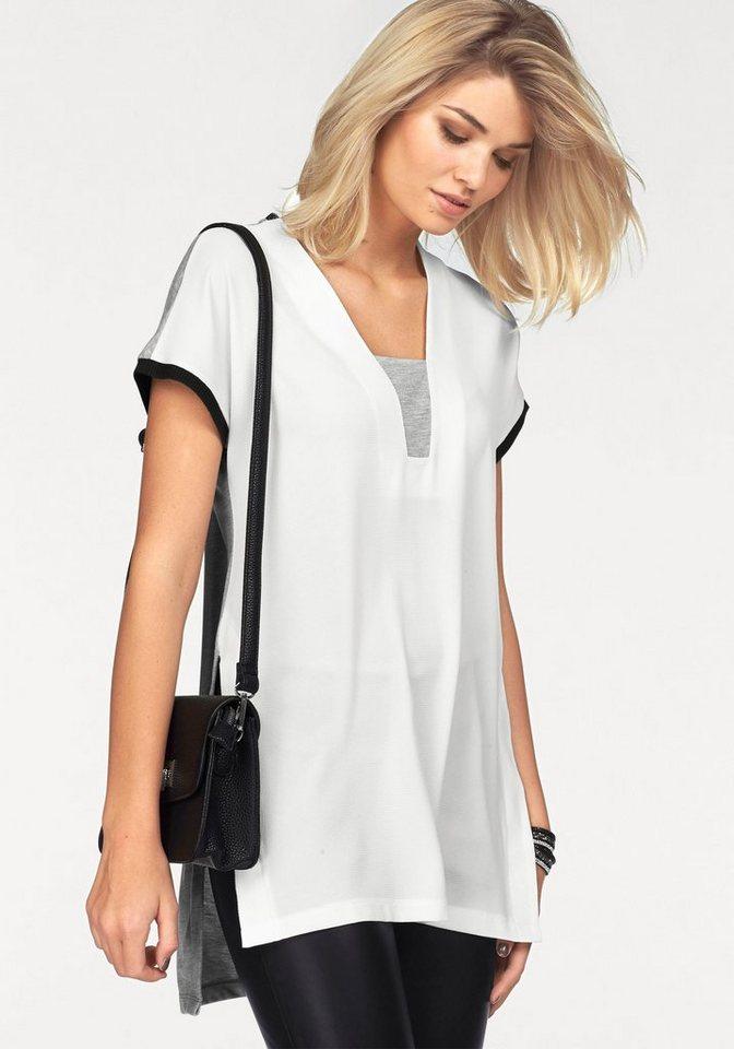 Laura Scott 2-in-1-Shirt hinten länger geschnitten in weiß-grau