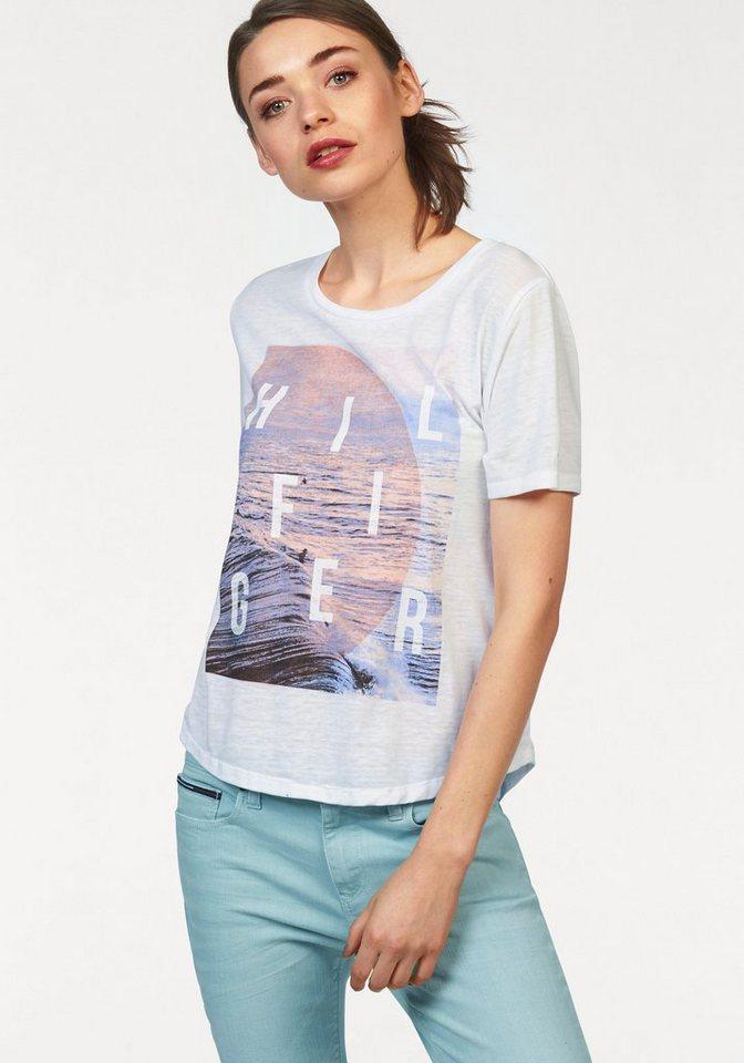Hilfiger Denim T-Shirt mit großem Frontprint in weiß
