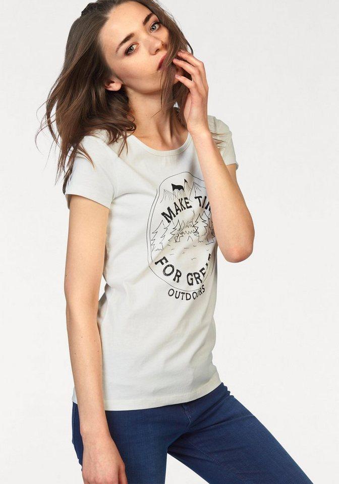 Tom Tailor Denim T-Shirt mit Stempeldruck in ecru-bedruckt