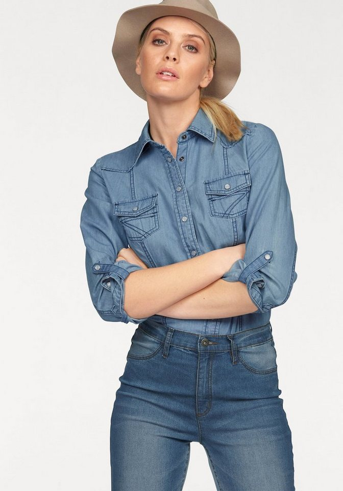 Arizona Jeansbluse »Western« in bleached