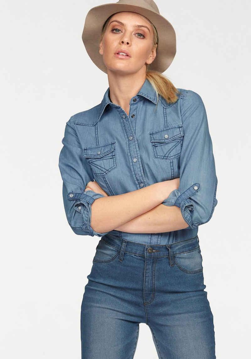 Arizona Jeansbluse »mit Druckknöpfen in Perlmuttoptik« und Krempelärmeln