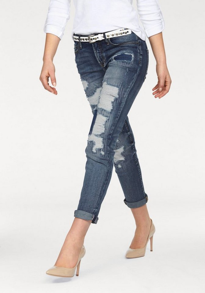 Arizona Skinny-fit-Jeans »Destroyed Look« Mid Waist in blue-used