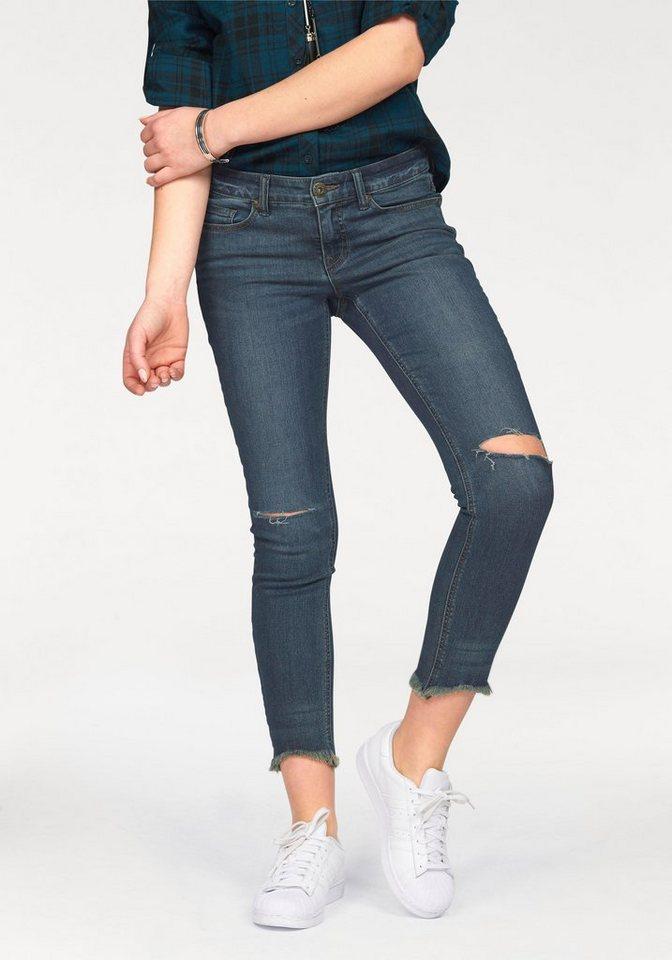 Arizona Destroyed-Jeans mit Knee-Cuts & ausgefransten Säumen in darkblue-used