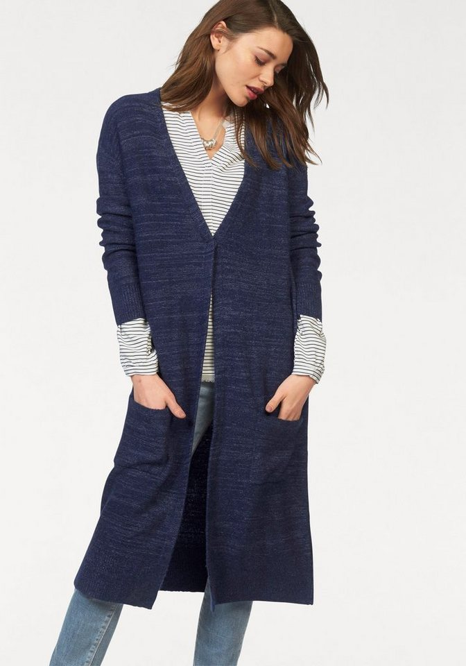Hilfiger Denim Longstrickjacke in melierter Optik in marine-meliert