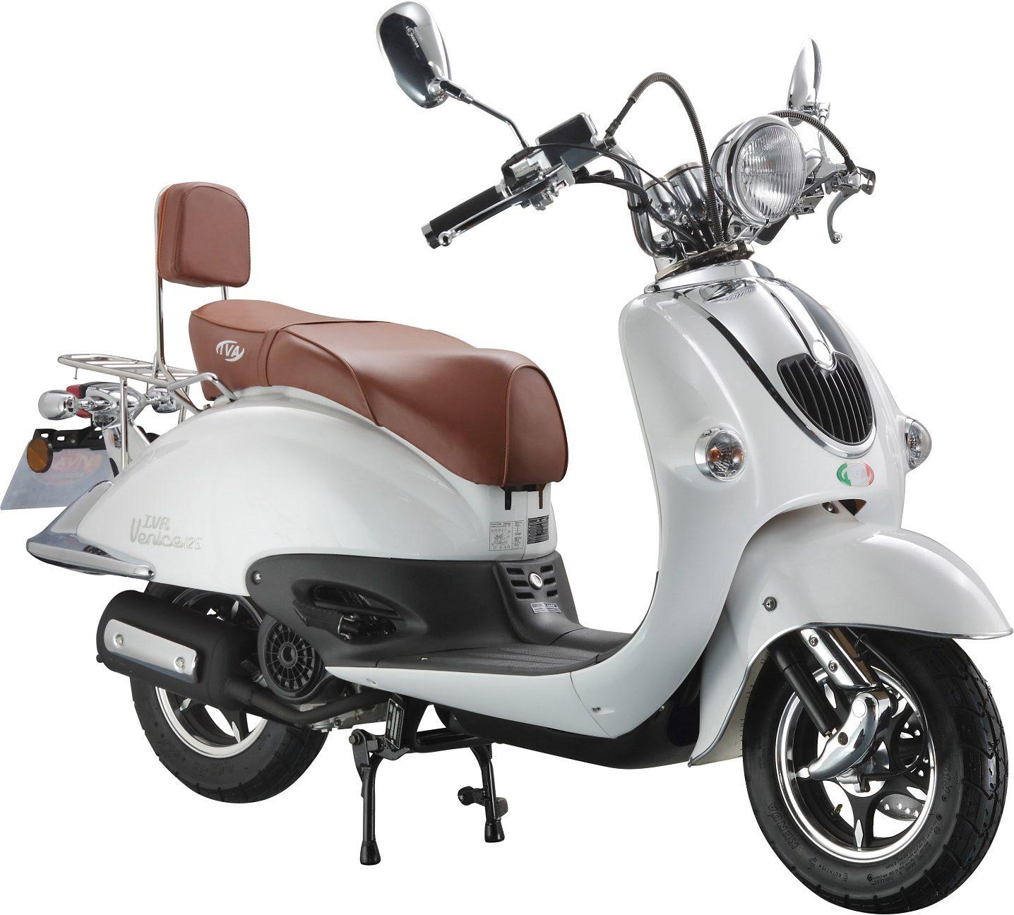 Retro Mofaroller, 50 ccm, 3 PS, 25 km/h, für 1 Person, weiss, »RETRO VENICE«, IVA
