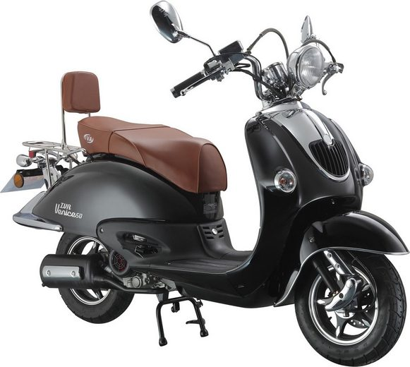 retro motorroller retro venice 50 ccm 45 km h f r 2 personen schwarz braun online kaufen otto. Black Bedroom Furniture Sets. Home Design Ideas
