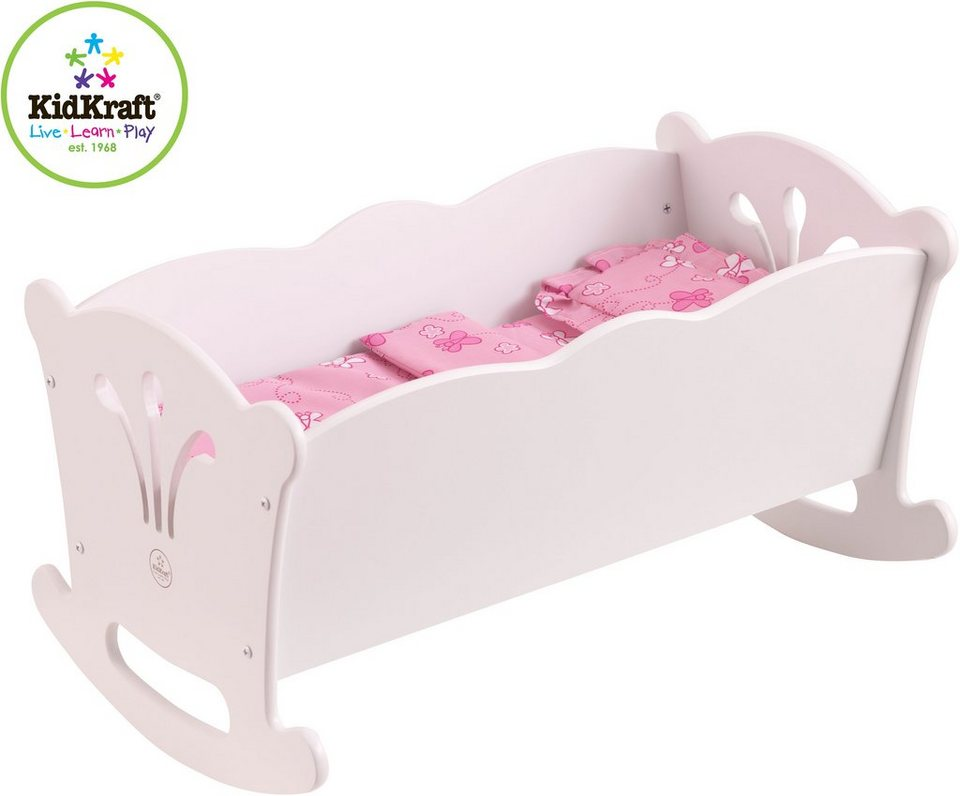 KidKraft® Puppenwiege mit Bettzeug, »Lily« in weiß/rosa