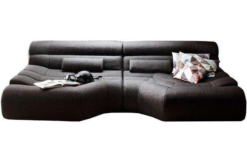 Kasper-Wohndesign Big Sofa Stoff Grau inkl. Kissen »TARA«