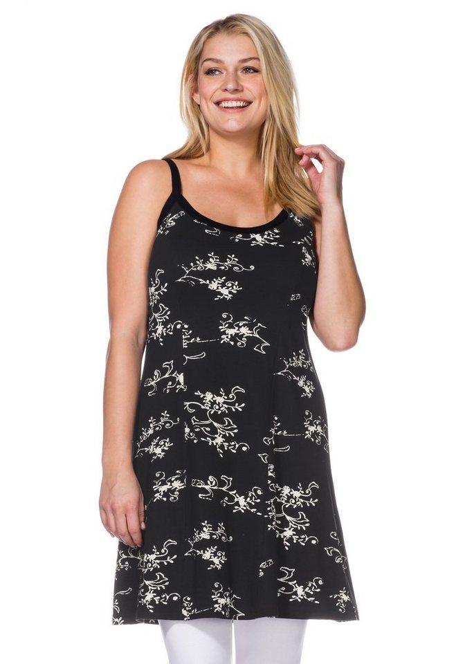 sheego Casual Jerseykleid mit Alloverdruck in schwarz