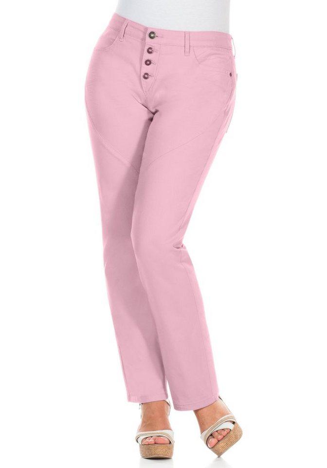 sheego Casual Gerade Stretch-Hose in rosé