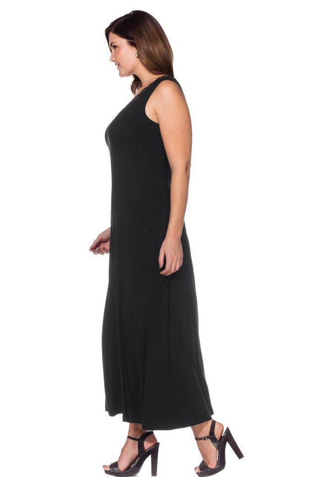 sheego Style Maxikleid in schwarz
