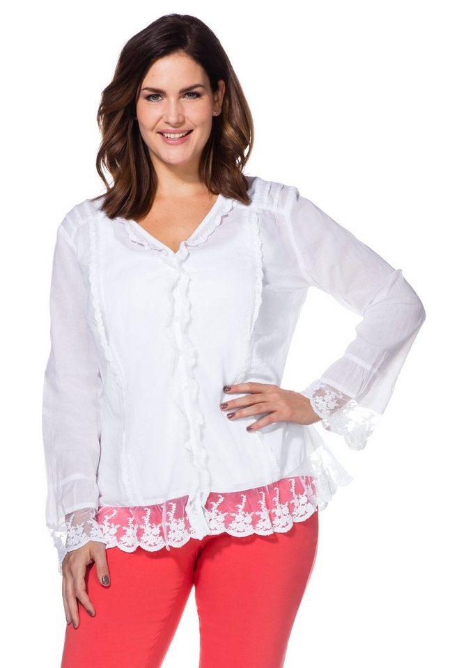 sheego Style Rüschenbluse in weiß