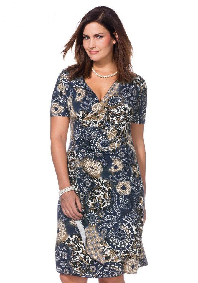 sheego Style Jerseykleid in Wickeloptik in blau