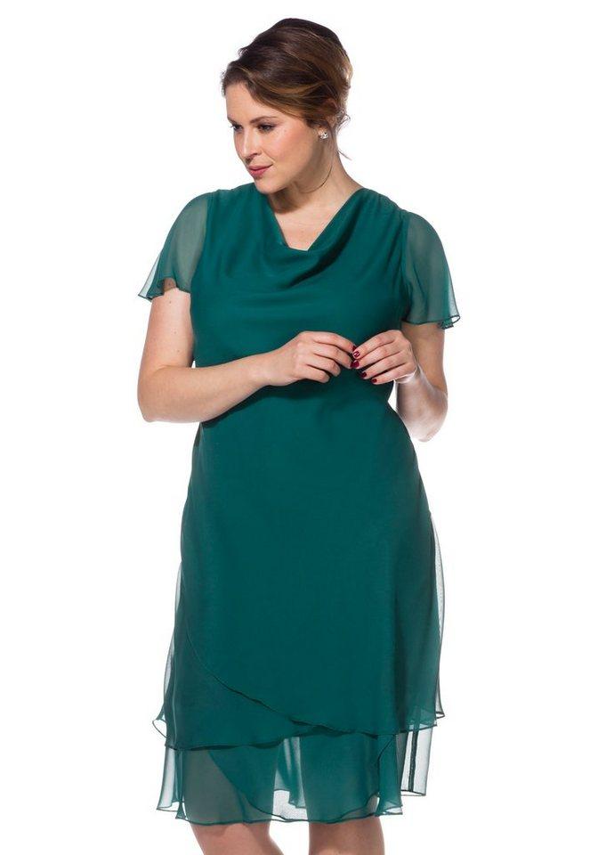 sheego Style Abendkleid mit Wasserfallkragen in opalgrün