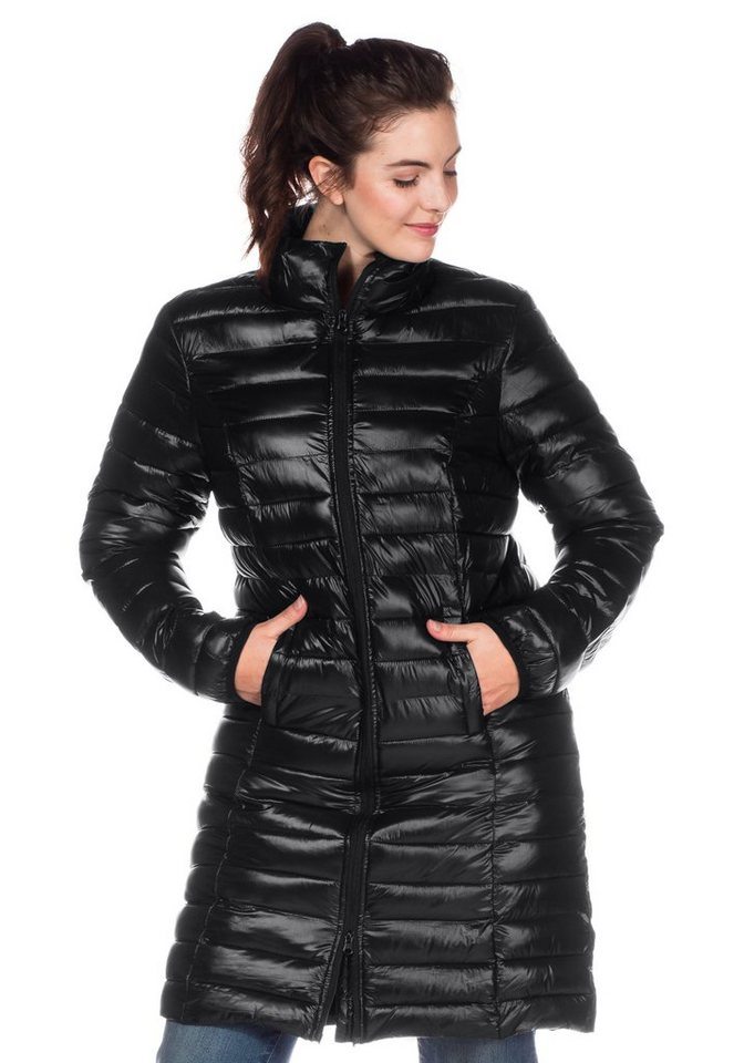 sheego Casual Stepplongjacke in schwarz