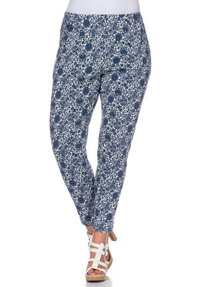 sheego Style Schmale Stretch-Jersey-Hose in rauchblau