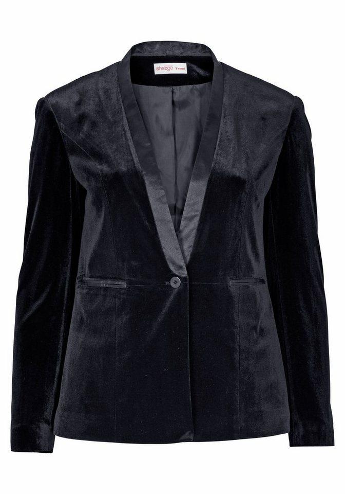 sheego Trend Samtblazer mit Satin-Details in schwarz-nachtblau