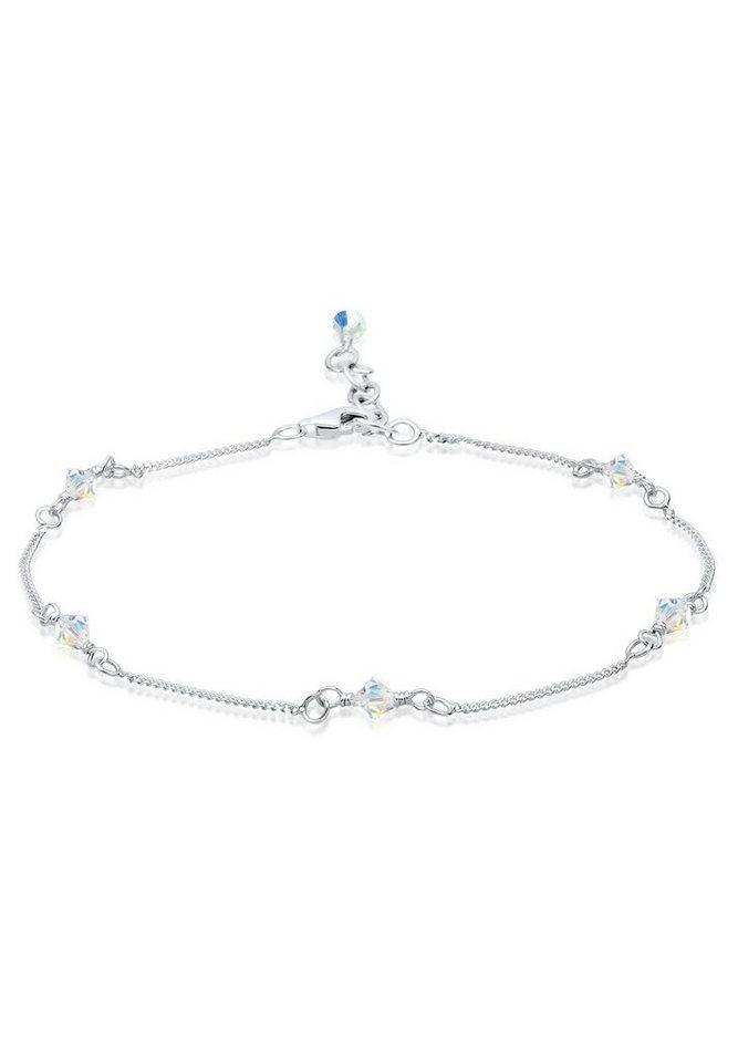 Elli Fußschmuck »Swarovski® Kristalle Sterling Silber« in Weiß