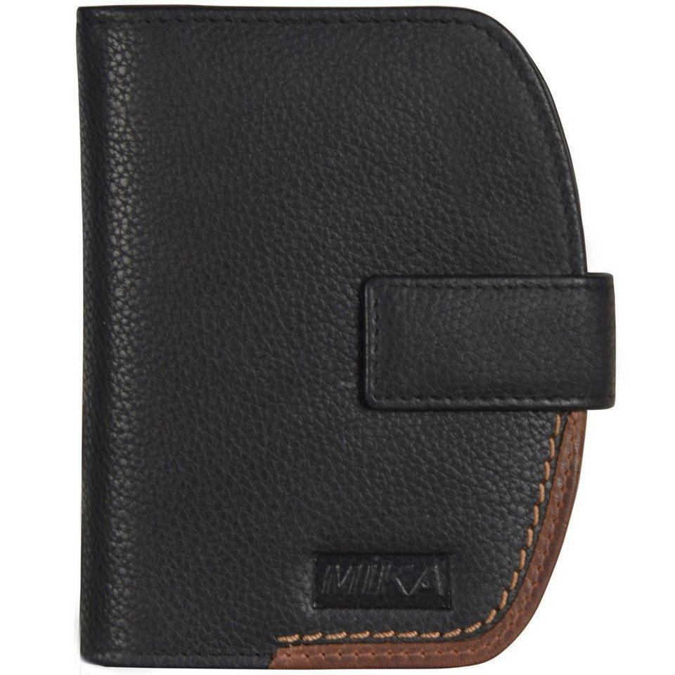 Mika Lederwaren Geldbörse Leder 10 cm in braun-schwarz