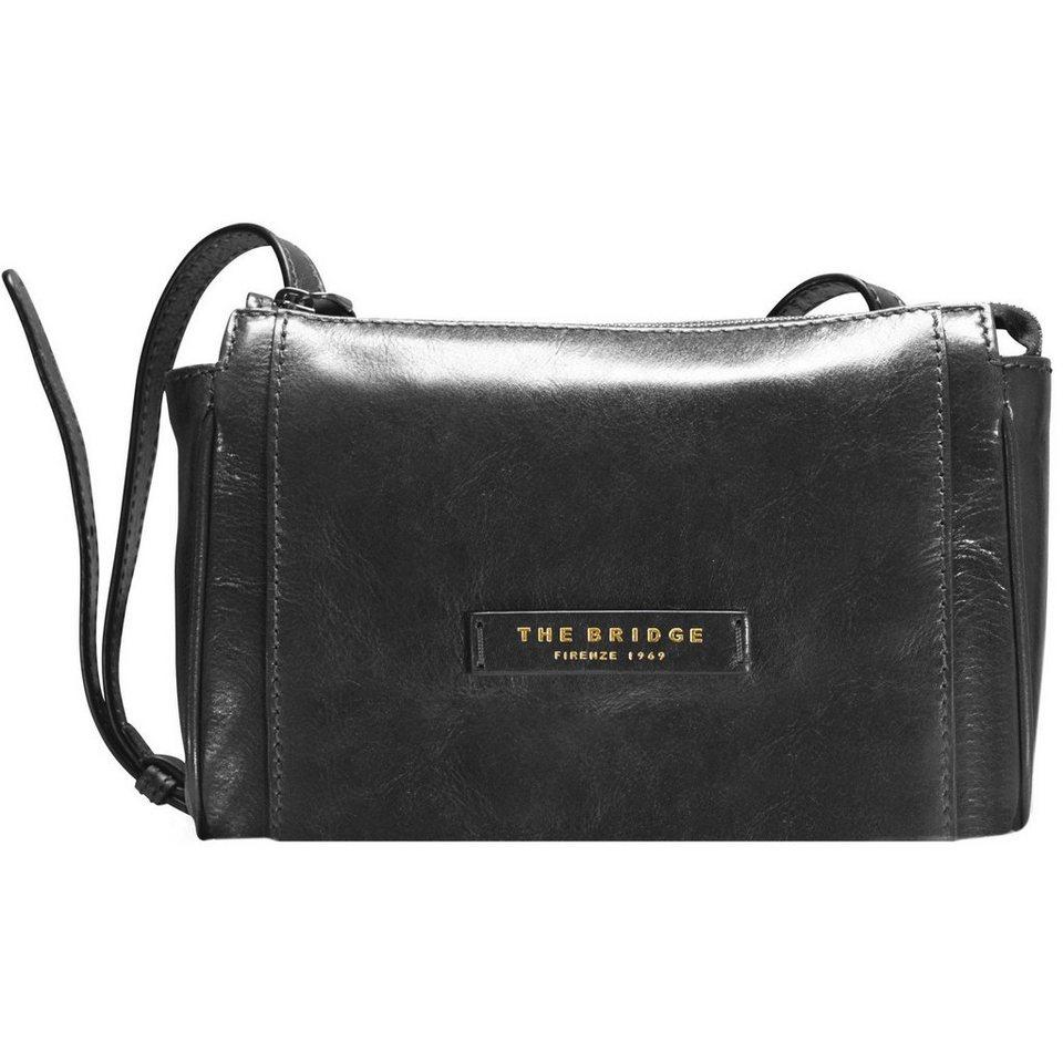 The Bridge Passpartout Donna Mini Bag Umhängetasche Leder 23 cm in nero-goldfarben
