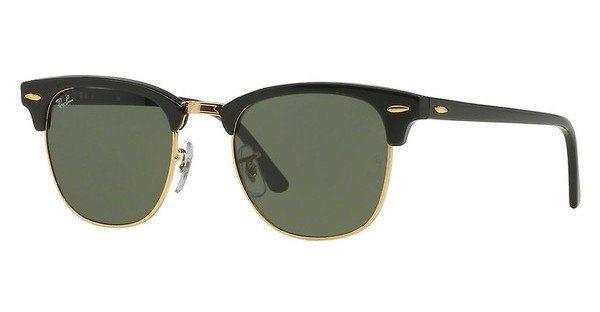 RAY-BAN Herren Sonnenbrille »CLUBMASTER RB3016« in W0365 - schwarz/grün