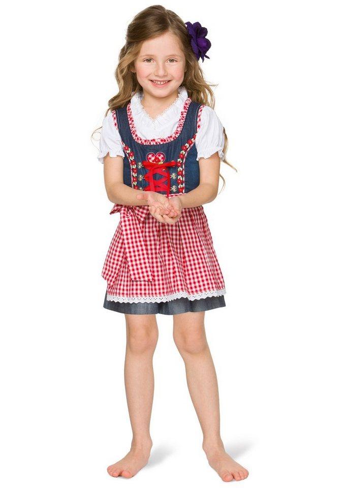 Kinderdirndl (3tlg.) mit Satinbandschnürung, Stockerpoint. in blau/rot