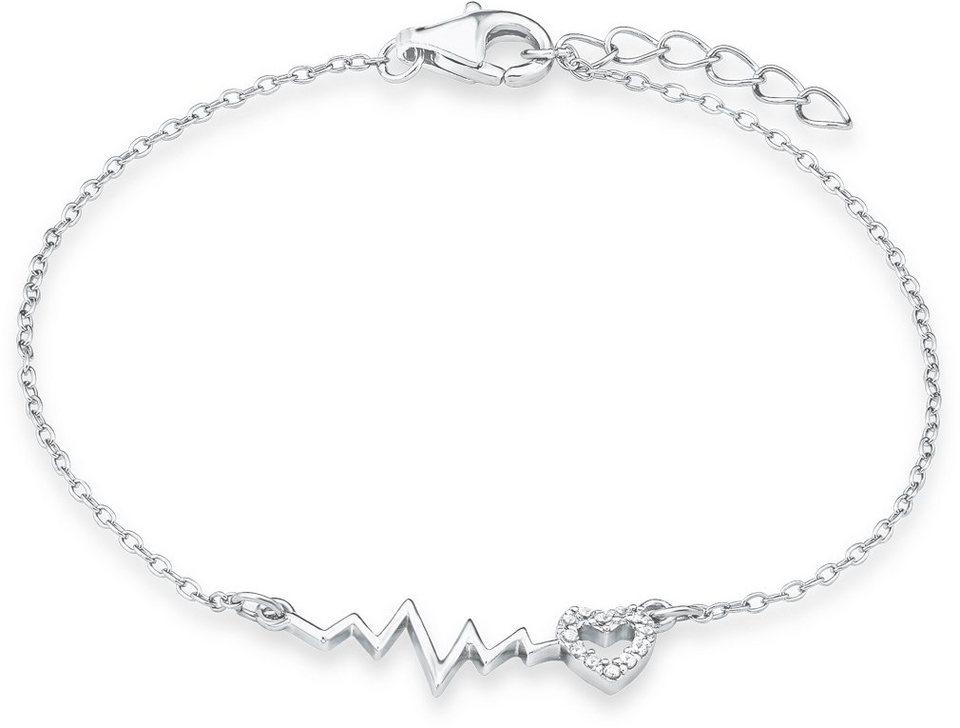 s.Oliver Junior Armband mit Zirkonia, »Pulslinie mit Herz, SOK237/1« in Silber 925