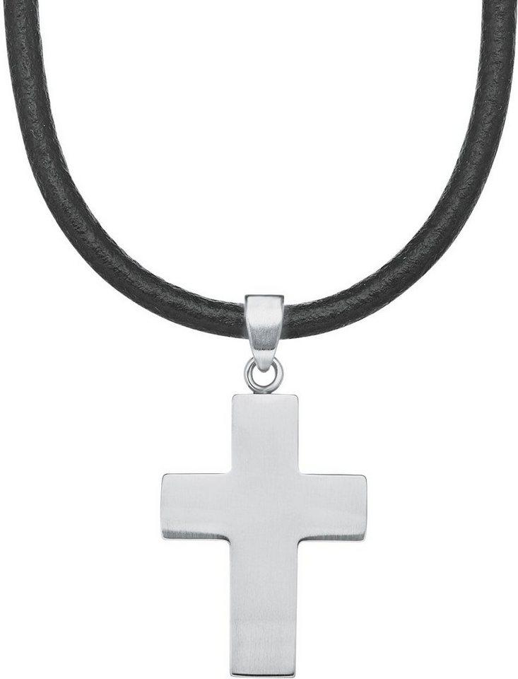 s.Oliver Junior Kette mit Anhänger, »Kreuz, 9232543« in silberfarben-schwarz