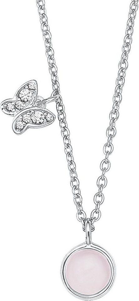 s.Oliver Junior Kette mit Glasstein und Zirkonia, »Schmetterling, 9233496« in Silber 925-rosa