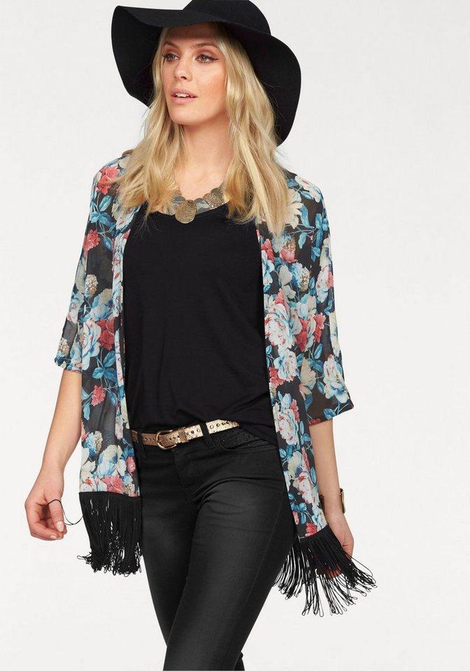 Melrose Kimono mit Fransen am Saum in schwarz