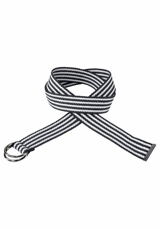 J. Jayz Stoffgürtel im Streifen-Design in schwarz-weiß