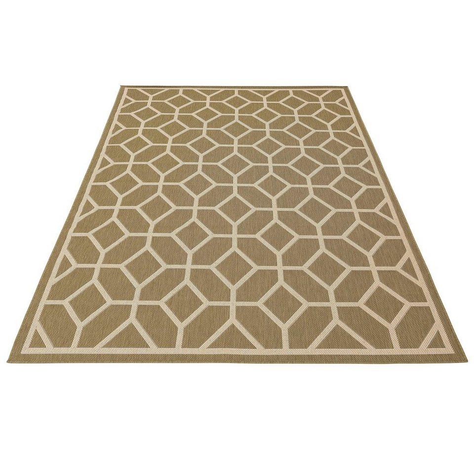 Grüner Outdoor-Teppich mit grafischer Musterung