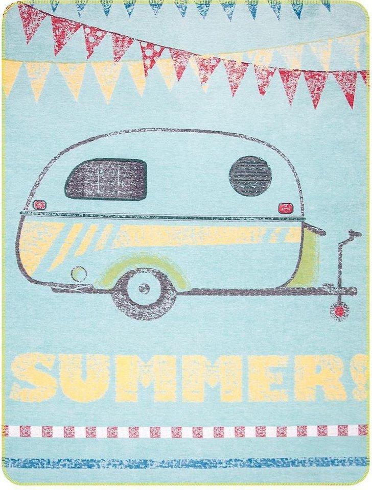 Wohndecke, pad, »Caravan«, im Sommer-Look in hellblau