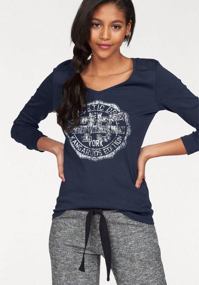 KangaROOS Print-Shirt mit Spitze am Rücken in marine