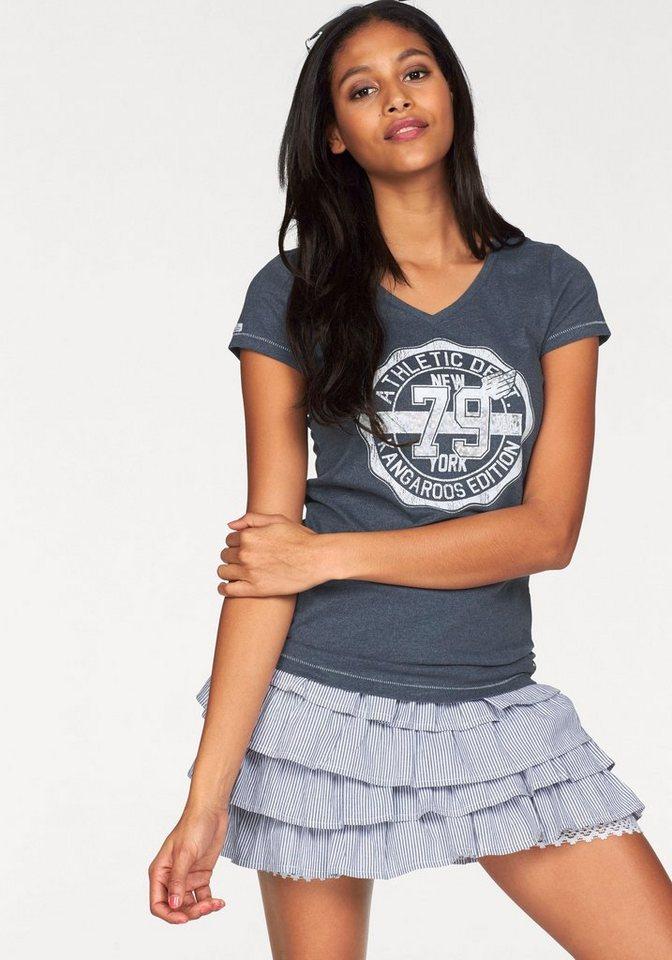 KangaROOS T-Shirt mit großem Front-Print in navy-meliert
